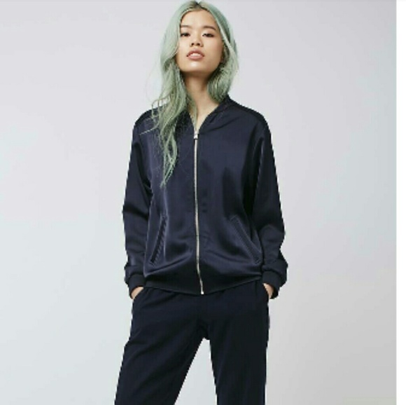 f5e4f343c Topshop Satin Bomber Jacket in Navy